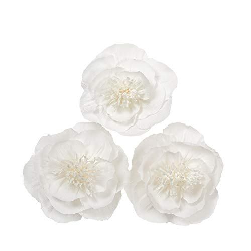 Letjolt Artificial Flower Decorations White Paper Peony for Wedding Backdrop Graduation Party Decorations Baby Shower Bridal Shower Nursery Wall Decor(Set 3)