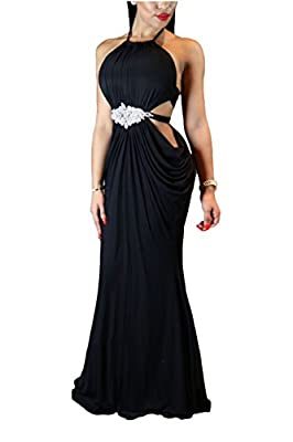 Womens Long Sleeveless Black Sexy Cutout Halter Evening Gown Prom Party Dresses with Crystal Decorated