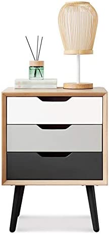 CHSY ベッドサイドテーブル、カラーマッチング3ペースト分類オーガナイザーシンプルなベッドサイドスモールキャビネットベッドルームロッカー、に適した:リビングルーム/ベッドルーム/書斎、45 x 35 x 60 cm サイドテーブル
