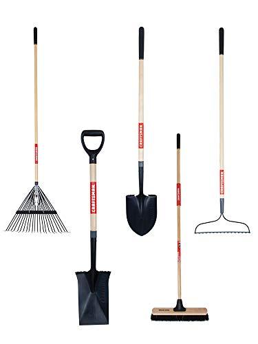 CRAFTSMAN CMXMKIT0090 5-Piece Garden & Landscape Tool Set with Lawn, Digging Shovel, Garden Rake, Border Spade & Push Broom
