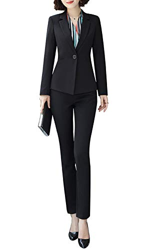 Women Two Pieces Blazers Work Office Lady Suit Business Blazer Jacket&Pant (Black, 3XL)