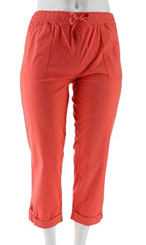 Liz Claiborne NY Jackie Pull-On Crop Pants Deep Sea Coral 10 New A252713
