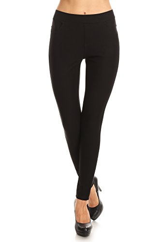 ICONOFLASH Women's Ponte Knit Stretch Skinny Dress Pants (Faux Leather Trim, (Double Knit Skinny Pants)