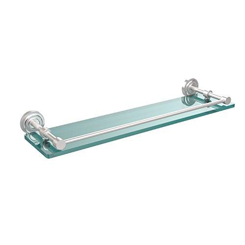 Glass Gallery Rail Shelf - Allied Brass DT-1/22-GAL-SCH Dottingham 22 Inch Glass Shelf with Gallery Rail, Satin Chrome