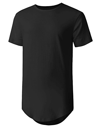Hat and Beyond Mens Basic Hipster T Shirts Hip Hop Soft Casual Longline Tee (XX-Large, 1hc01_Black)