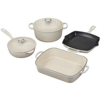 Le Creuset Signature Meringue Enameled Cast Iron 6 Piece Cookware Set