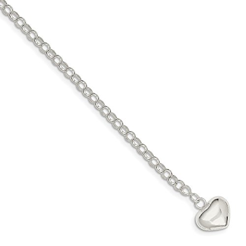 (Brilliant Bijou Solid .925 Sterling Silver Puffed Heart Charm Bracelet 14 inches)