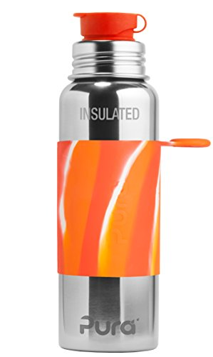 Pura Sport Vacuum Insulated 22 oz / 650 ml Stainless Steel Water Bottle with Silicone Sport Flip Cap & Sleeve, Orange Swirl (Plastic Free, NonToxic Certified, BPA Free)