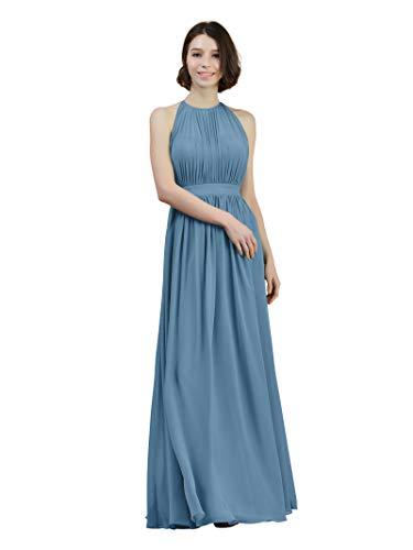 - Alicepub Halter Illusion Bridesmaid Dress Chiffon Formal Evening Prom Gown Maxi, Dusty Blue, US8