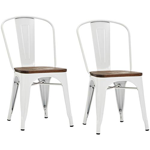 Pioneer Square Beja Metal Dining Chair with Wood Seat, Set of 2, Coconut White