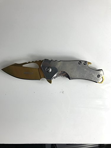 Small Colored MTech Style Pocket Knife Spring Asissted (Silver/Gold) ()