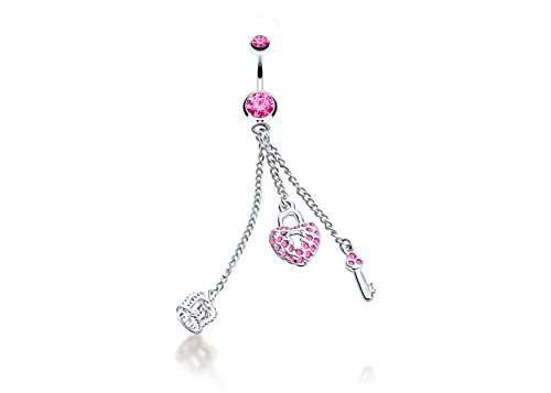 Jewels Fashion 3 Long Dangles Heart, Crown, Cute Key Dangle Surgical Steel Belly Button Ring 14G 3/8 bar Length with Cubic Zirconia ()