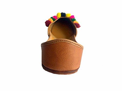 S Khussa Mojari Punjabi Rajasthani In Shoes Step Donne Da Pelle sandalo N Ballet Marrone Etnico Donna Casual scarpe Jutti Stile Le Brown Dicono natural w4nqIOz87