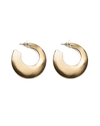 Colette Hayman - Hollow Brushed Gold Metal Hoop Earrings
