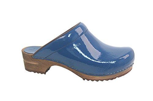 Sanita Womens Classic Open Patent Leather Clogs Denim Size EU 40 - US L9.5