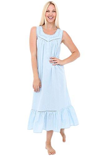 Del Rossa Women's Patricia Cotton Nightgown, Long Victorian Sleeveless Sleepwear, X-Large Sea Breeze Blue (A0526LBLXL)
