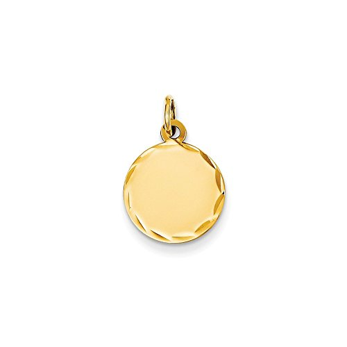 Mireval 14k Yellow Gold Etched .009 Gauge Engravable Round Disc Charm (13 x 20 mm)
