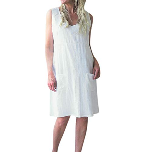 Sunhusing Ladies Casual Solid Color V-Neck Cotton Linen Pocket Sleeveless Dress Loose Casual Mini Dress White