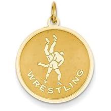 14k Yellow Gold Wrestling Disc Pendant, 19mm