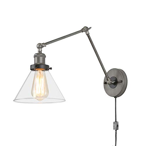 LNC Swing Arm Wall Sconce Lamp, Plug-in & Hardwire, Clear Glass Shade