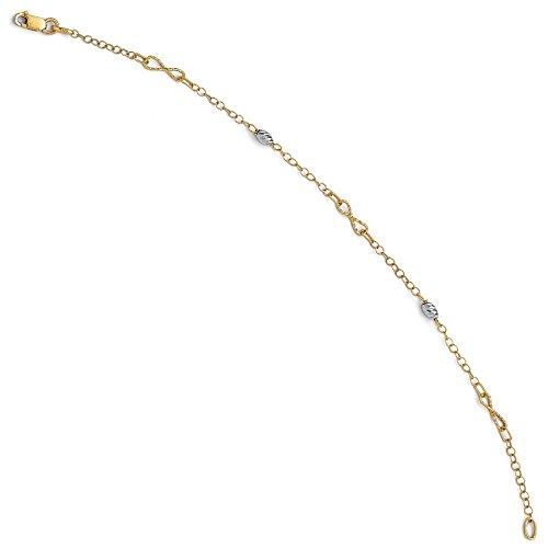 14 carats-Bicolore taille diamant poli Bracelet-JewelryWeb 7,5 cm