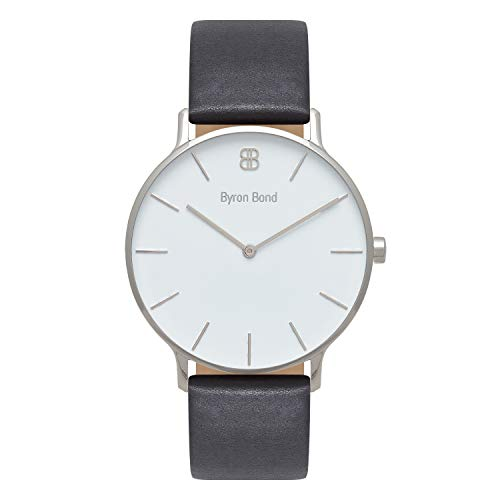 (Byron Bond Mark 3 Men's Luxury Slim Watch (Baker - Silver Case with White Dial and Black Leather Strap))