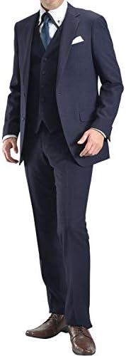 【MARUTOMI】スリーピーススーツ メンズ 3ピース 2ツボタン ビジネススーツ スリーピース ベスト付 ナチュラルストレッチ パンツウォッシャブル機能 suit 秋冬 【HGR】 AC102