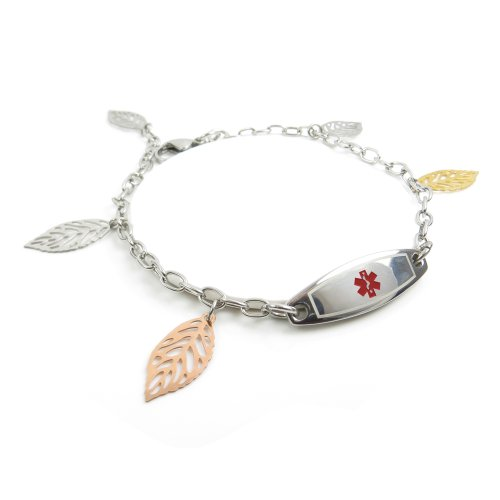 MyIDDr - Pre-Engraved & Customized Women's Diabetes Type I Medical Bracelet, Steel Leaves, Wallet Card Incld
