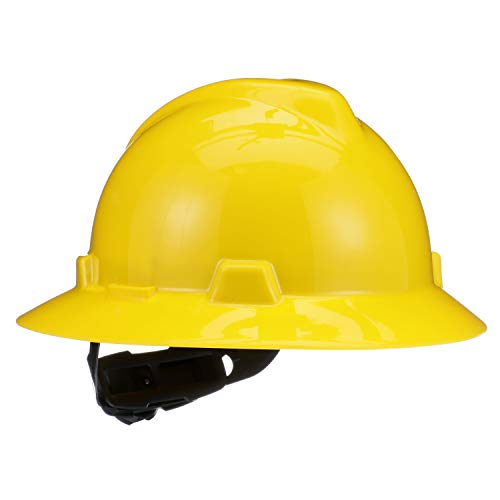 - MSA 475366 V-Gard Slotted Full-Brim Hard Hat, with 4-point Fas-Trac III Suspension, Standard, Yellow