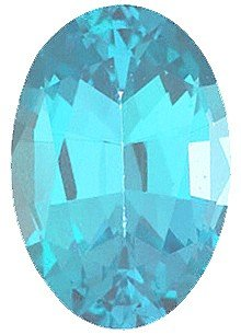 Faux Faceted Oval Shape Standard Size Blue Zircon Gem Sized 12.00 x 10.00 mm ()