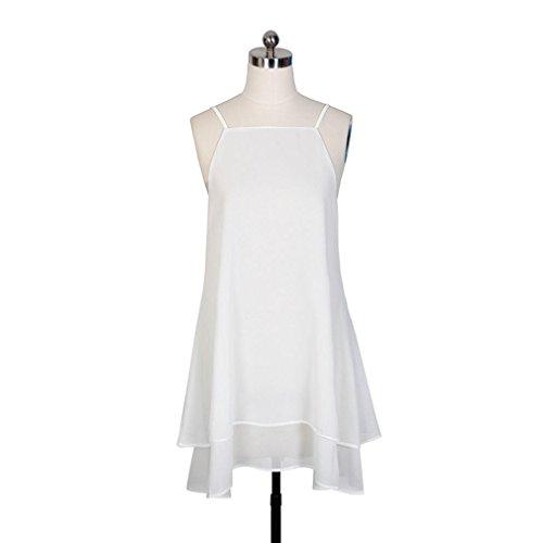 Partie Robe De Blanc Robe sans Lache D't Plage LuckyGirls Dcontract Femmes Mousseline Sexy Manches CqnZZ7WF6
