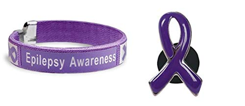 Epilepsy Awareness Purple Ribbon Bracelet & Purple Awareness Enamel -