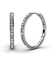 Bianca 18k White Gold plated brass Hoop Earrings with Swarovski Crystals, Crystal Drop Dangle, Sparkle Round Small Hoop