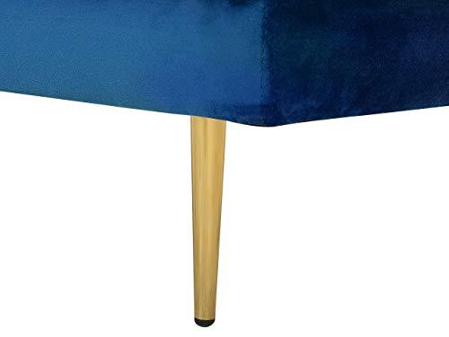 Beliani – Chaise Longue Côté Droit – Miramas – Velours, Bleu Marine