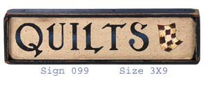 Mini Quilts Wood Sign 3x9 inches
