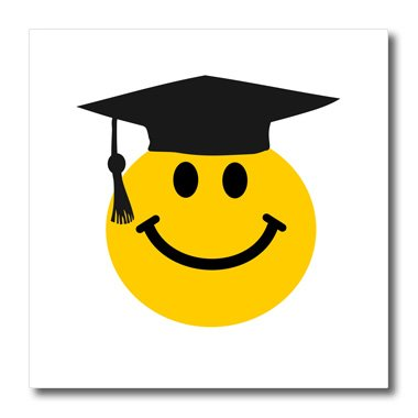3dRose ht_123164_1 Graduate Smiley Black Mortarboard Hat and Tassel-Uni or School Grad Iron on Heat Transfer, 8 by 8-Inch