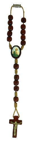St Jude Auto Rosary by Catholica Shop   Rearview Mirror   Wood Prayer Beads   Made in Brazil (St Jude)