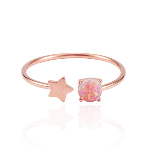MUSTHAVE 18K Rose/White/Yellow Gold Plated Star Opal Ring, White/Green/Pink Opal Ring, Adjustable Size (Rose Gold)