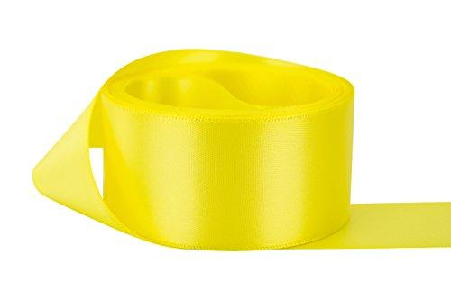 Ribbon Bazaar Double Faced Satin 1-1/2 inch Lemon Yellow 50 yards 100% Polyester (Lemon Ribbon)