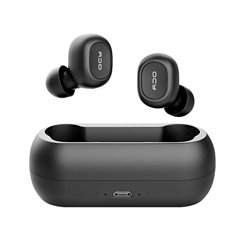 QCY T1C Workout Wireless Earbuds with Charging Case, TWS 5.0 Bluetooth Headphones, Compatible for iPhone, Android and Other Leading Smartphones, Black