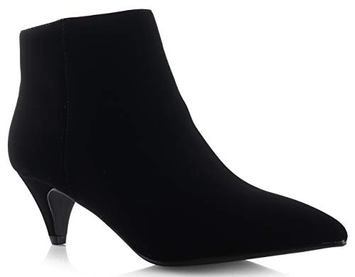 LUSTHAVE Womens Lenny Kitten Low Heel Pointy Toe Ankle Bootie Boots