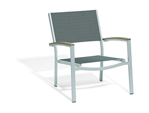 Oxford Garden Travira TVCAST109V4 Chat Chair – Titanium Sling Seat – Tekwood Vintage Armcaps – Set of 4