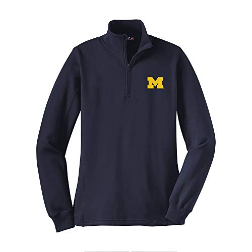 - LQ07 - Michigan Wolverines Primary Logo LC Womens (1/4) Quarter Zip - 2X-Large - Navy