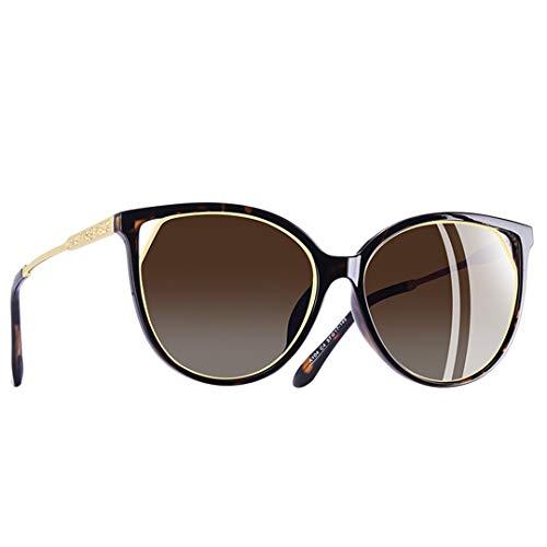 LIUSKAI Design Cat Eye Sunglasses Women's Polarized Fashion Sun Glasses for Women Temple Goggles Uv400 A104 C4Brown ()