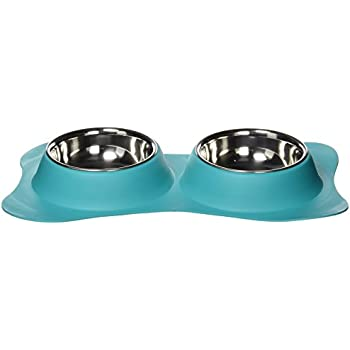 Loving Pets Bone Shaped Flex Diner for Dogs, Small, Robins Egg