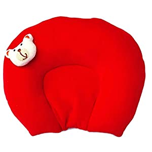 MOM & SON Baby U Shape Mustard Seeds(Middle Area) Pillow for Head Shaping Red & Yellow(New Born 0-9 Months Age Group)