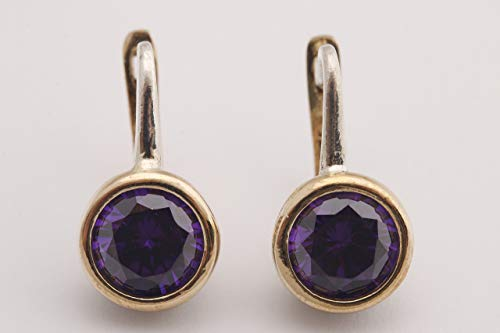 Fashion Style Turkish Handmade Jewelry Round Shape Amethyst and Round Cut Topaz 925 Sterling Silver Stud Earrings