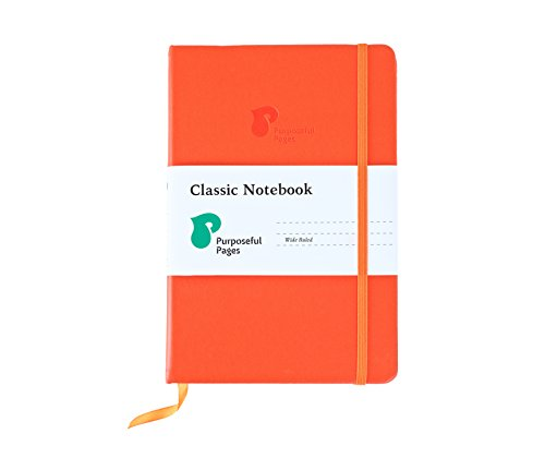 Classic Leather Hardcover Writing Notebook: A5 Notebooks with Bookmark, Elastic Band & Pocket for School, Business or Travel - 192 Pages - Wide Ruled Ivory Lined Paper - Orange - 5.8 x 8.3 Inches ()