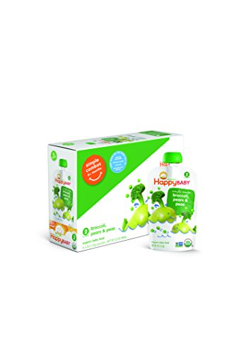 Stage 2 Baby Food, Happy Baby Simple Combos, Broccoli Pears & Peas, (Pack of 8)