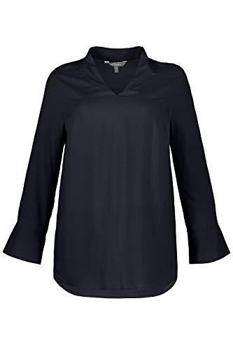 Longues Shirt avec Marine Blouse 719316 Shirt Tailles Femme Dos Femme Haut Lache Chemisiers t Grandes Popken Chic Bleu Manches T Ulla S4wqT8T